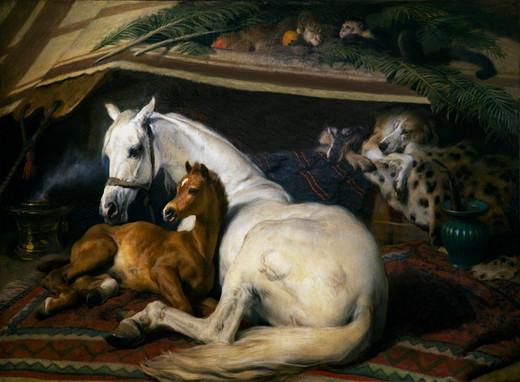 """Obraz Edwina Landseera """"Klacz i źrebię"""""""