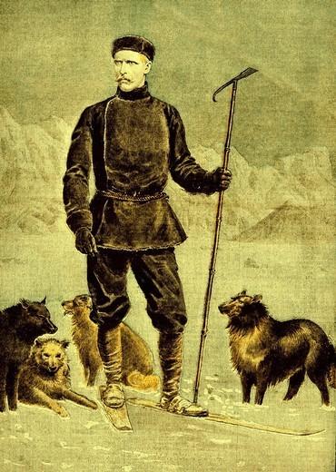 Ilustracja z 1897 roku a na niej Fridtjof Nansen z psami