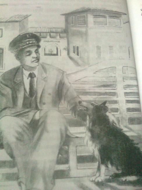 Ilustracja z ksiązki O psie który jeździł koleją