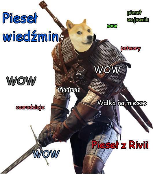 Zdjęcie mema internetowego Pieseła wiedźmina
