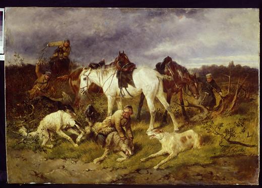Polowanie na wilka, artysta nieznany