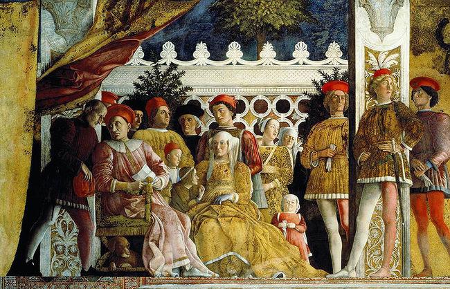 Fresk Andrea Mantegna przedstawiający leżącego Spinone i jego właściciela Ludovico III Gonzagę