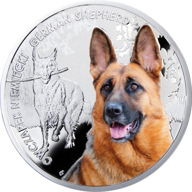 Moneta z serii Przyjaciele człowieka Psy wizerunek Owczarka niemieckiego