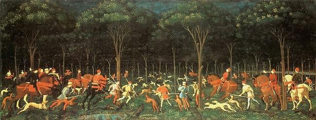 Obraz pt. Polowanie w lesie sławneo malarza Paolo Uccello
