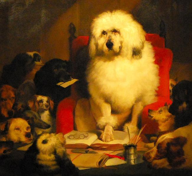 obraz przedstawiający psy w sądzie Sier Edwina Landseera